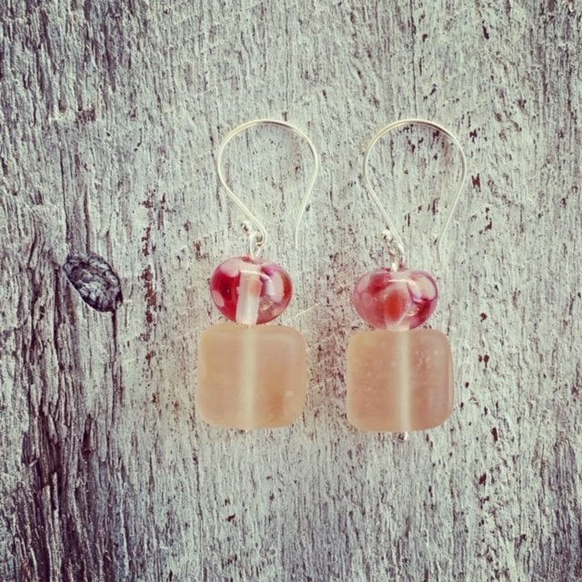 Pink Depression Glass Earrings