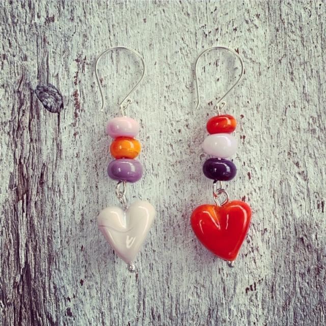 Pink and Orange heart earrings