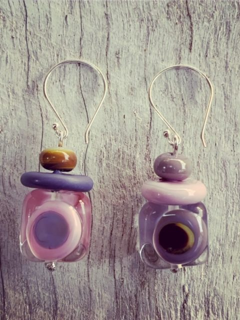 Pink and purple mismatched earrings