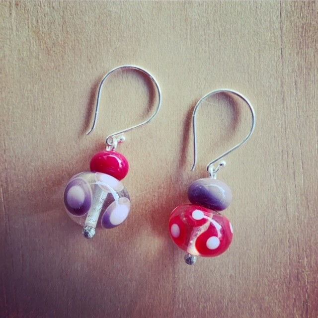 Red purple and pink earrings