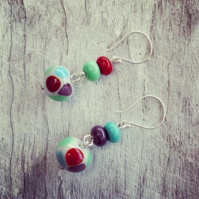 Colourful glass earrings