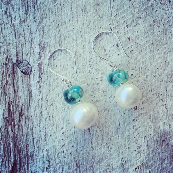pearl earrings with handmade glass beads