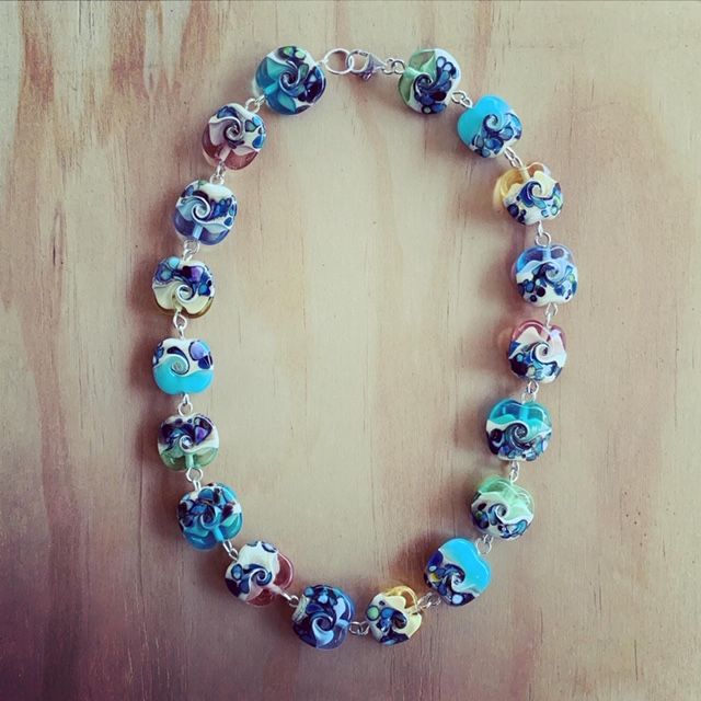 ocean inspired glass necklace