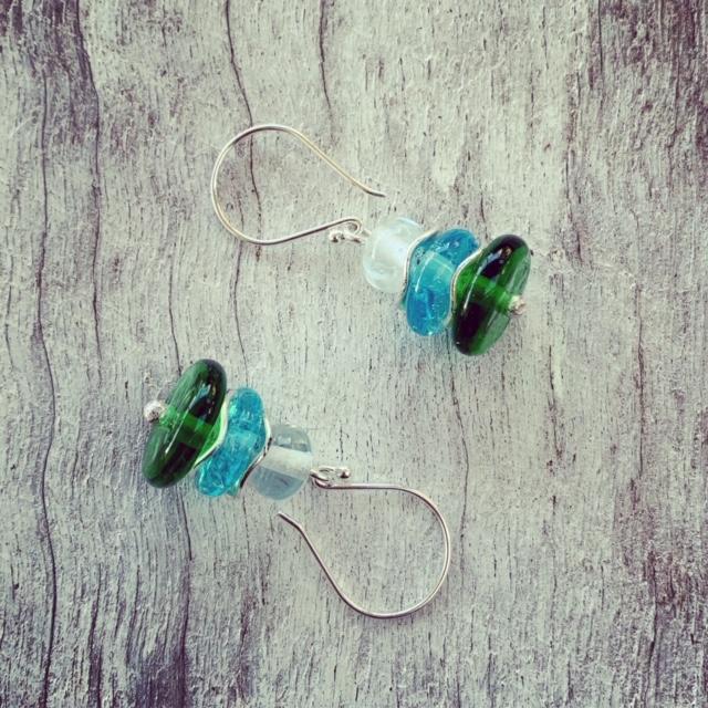 Crinkle disk earrings