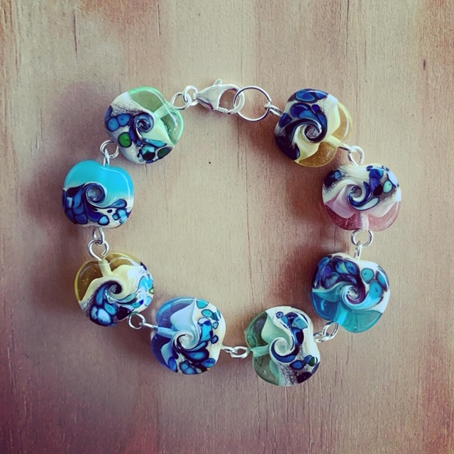 ocean inspired glass bracelet