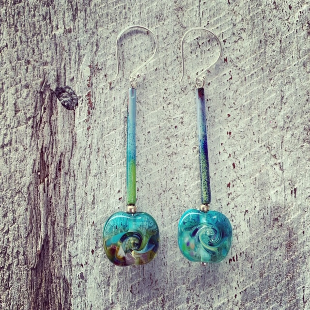 Ocean inspired glass earrings