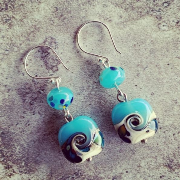 Blue glass ocean earrings