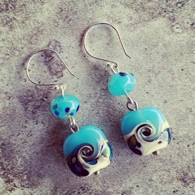 Blue glass ocean earrings