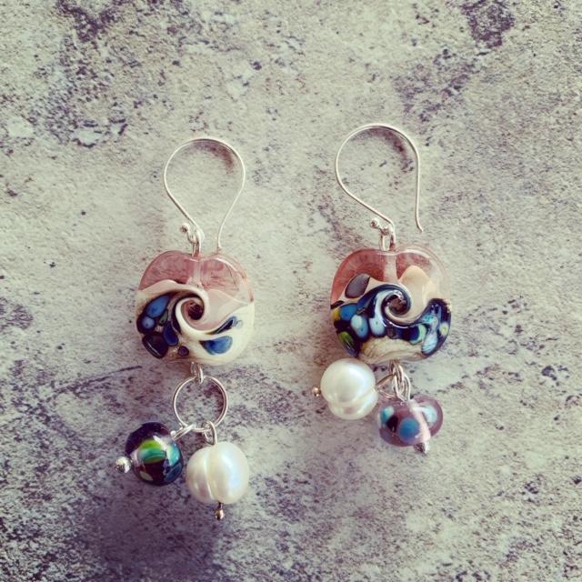 Ocean inspired glass bead earrings