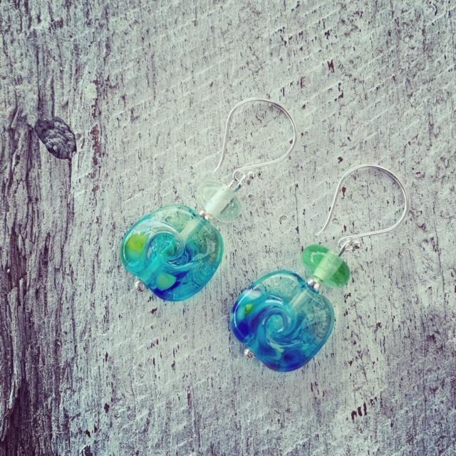 Ocean inspired glass earrings