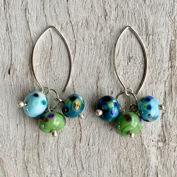colourful bead cluster earrings