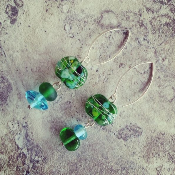 recycled glass gin bottle earrings