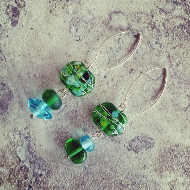 recycled glass gin bottle earrings