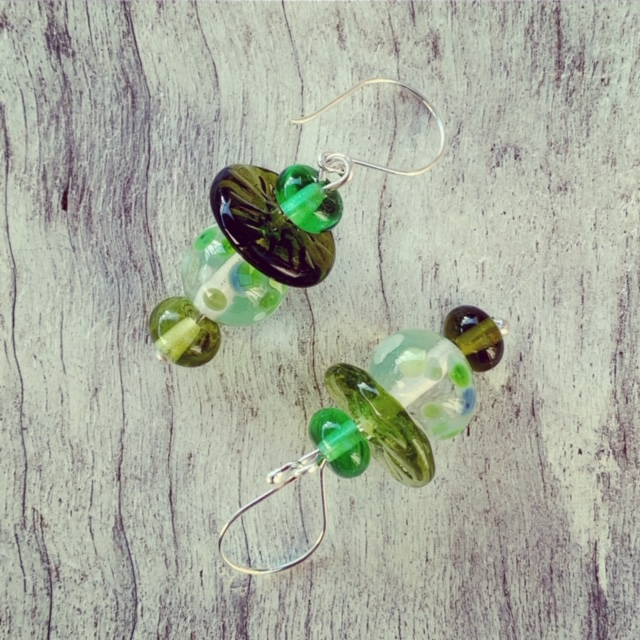 Green Bethany wine earrings
