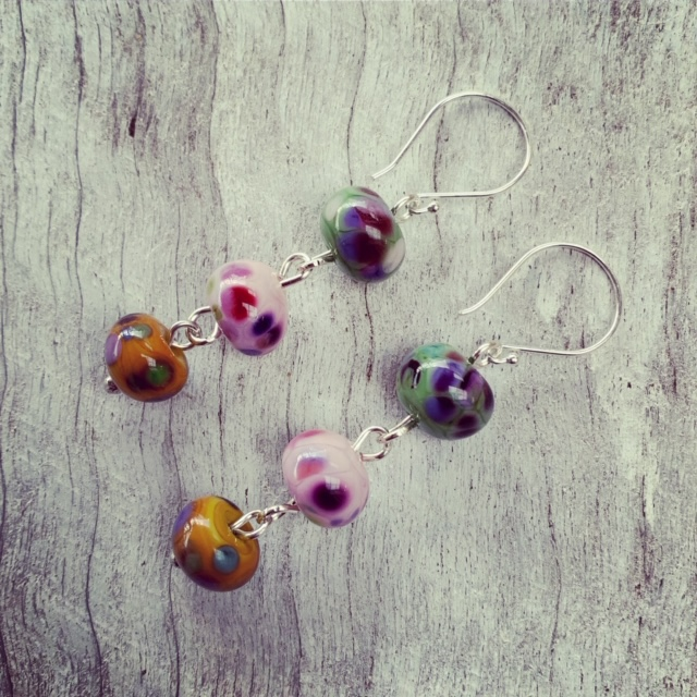 Green Pink and Yellow Earrings