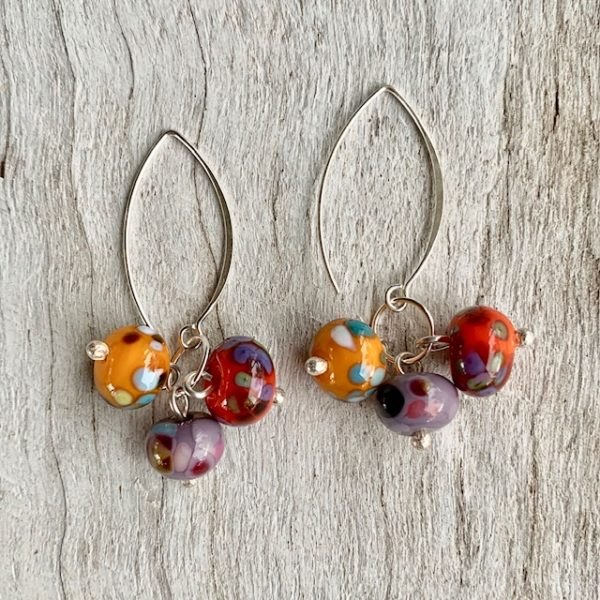 colourful cluster earrings