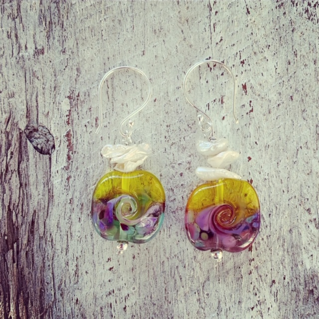 bold transparent yellow glass earrings