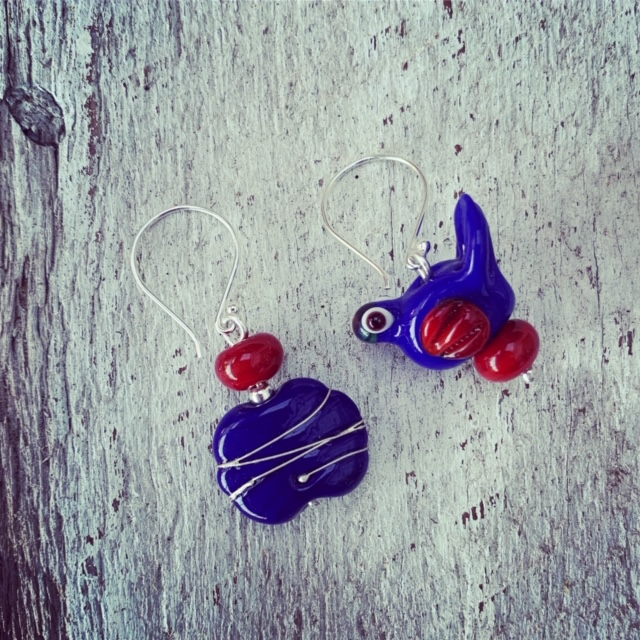 Classic Blue and Red Earrings