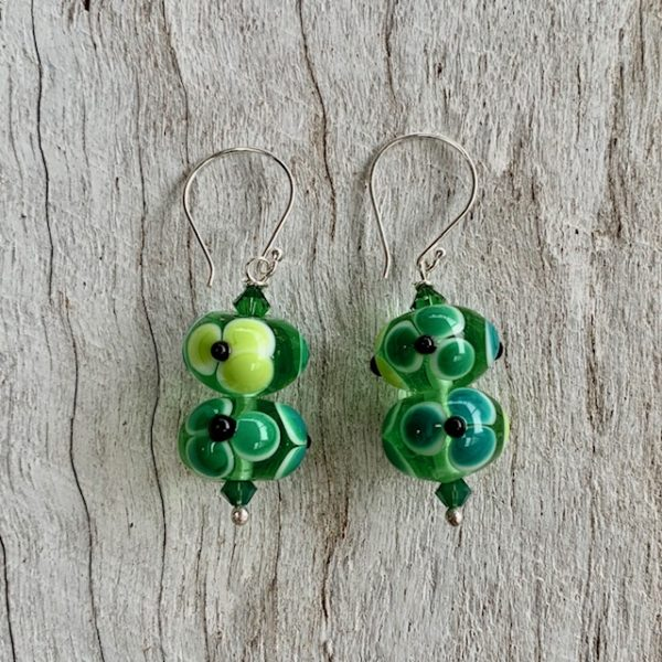 glass flower earrings