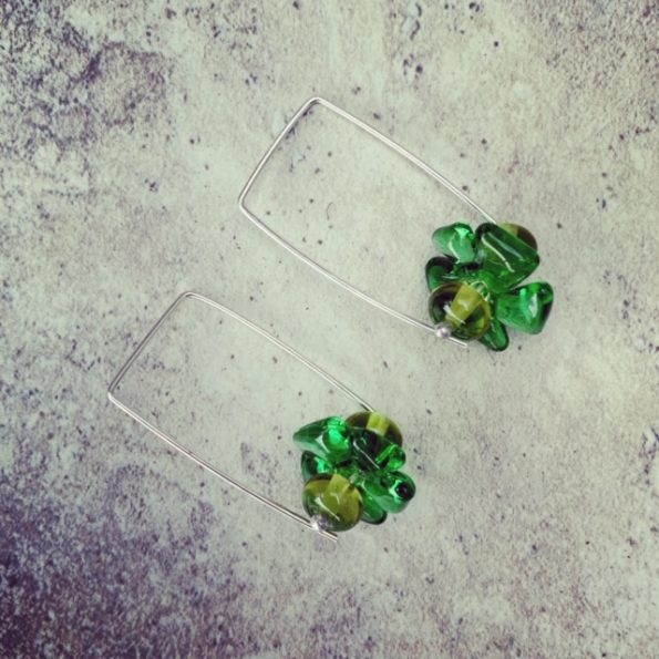 Green Rectangle Hoop Earrings