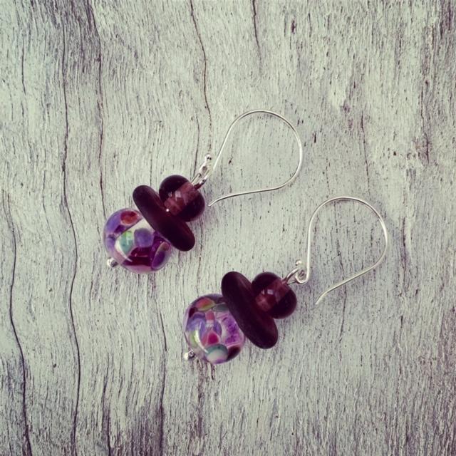 Purple gin and tonic earrings