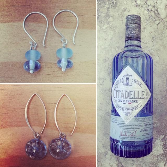 Blue Gin Bottle Earrings