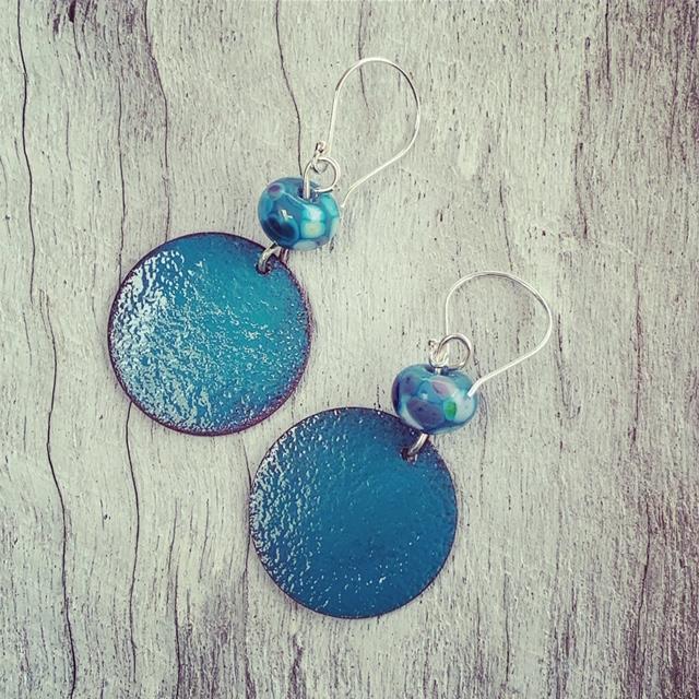 enamel copper earrings