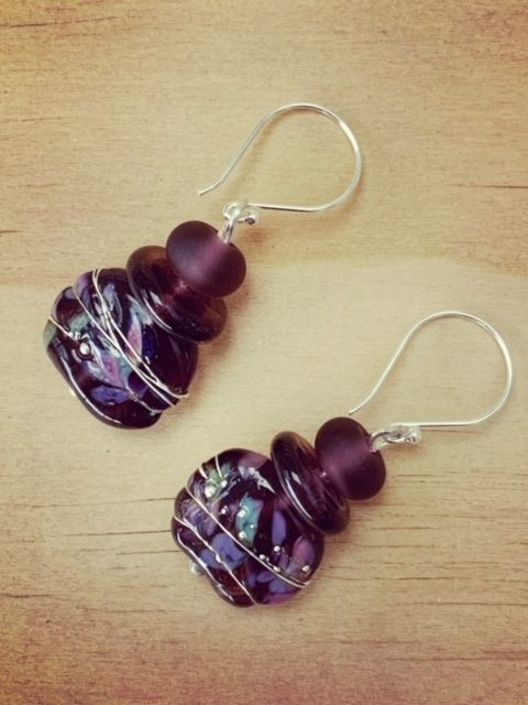 recycled glass earrings from a gin bottle