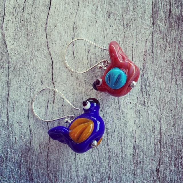 Glass bird earrings