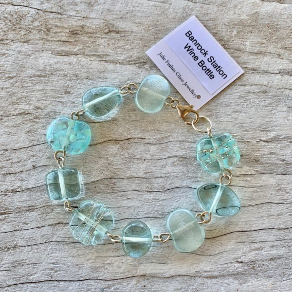 recycled glass bracelet, beads made from a wine bottle