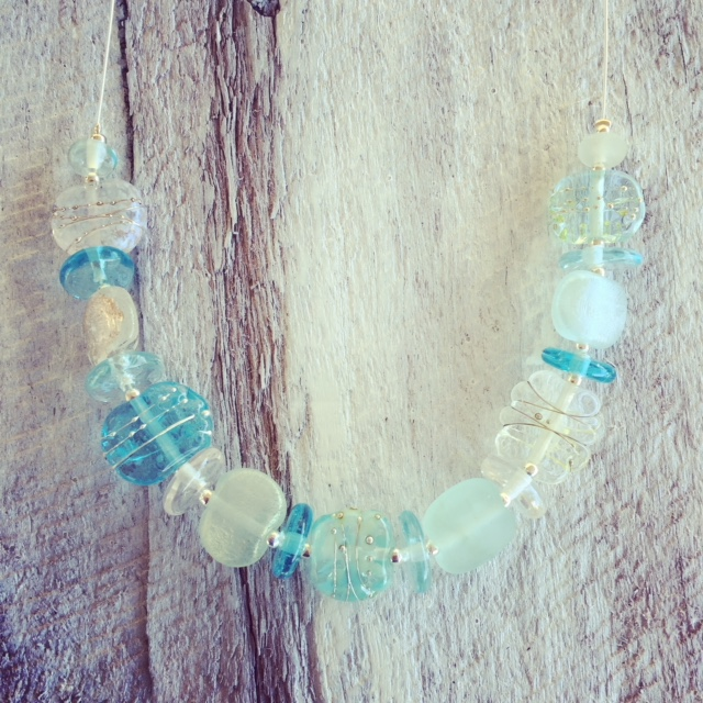 upcycled glass necklace