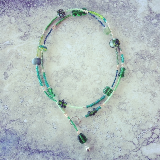 recycled glass lariat