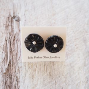 black flower earrings