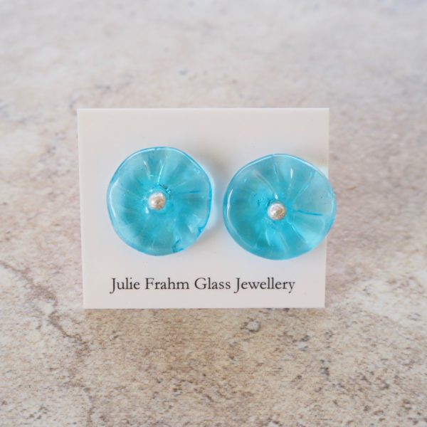 blue flower earrings