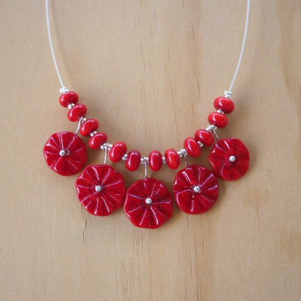 red flower necklace