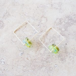 green glass bead earrings