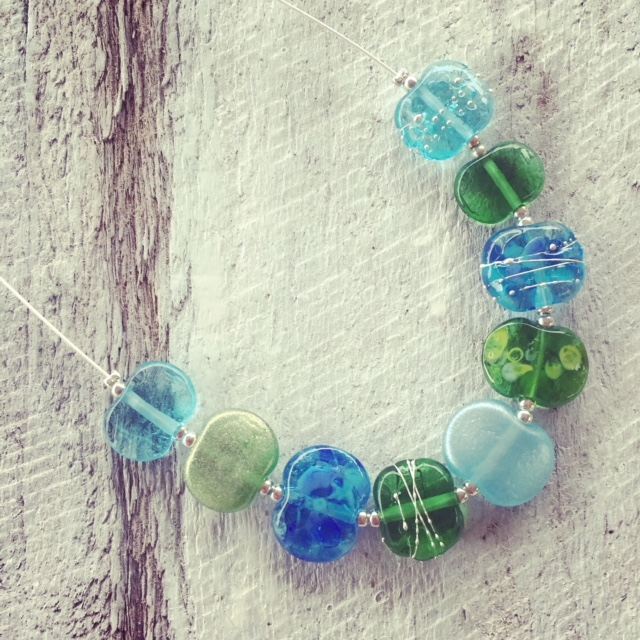 recycled glass necklaces