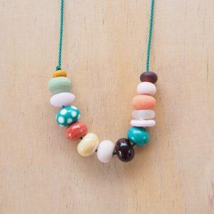 green handmade glass bead necklace