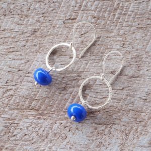 silver and cobalt blue earrings