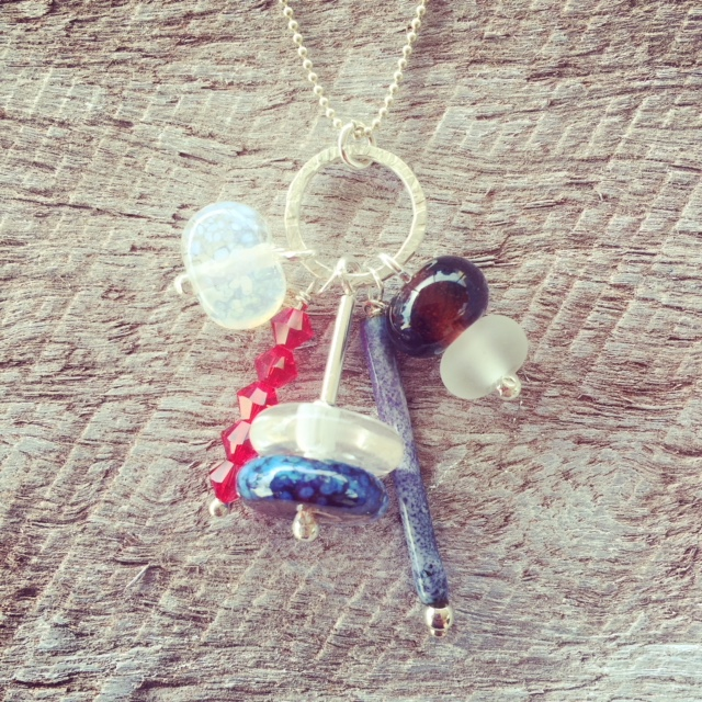 recycled glass pendant necklace