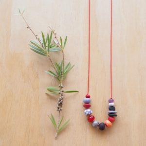 purple handmade glass bead necklace