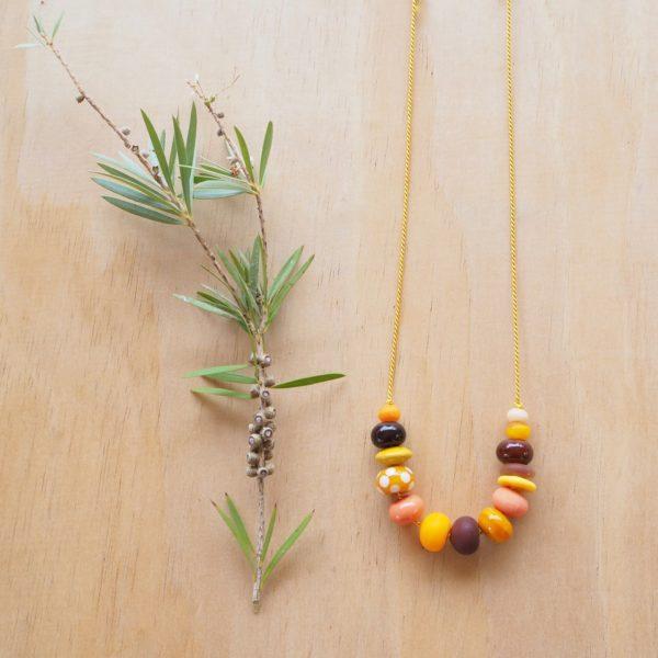 yellow handmade glass bead necklace