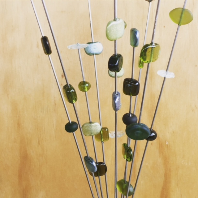 Recycled glass beads | bead stick sculptures featuring beads made from Bethany Wine bottles