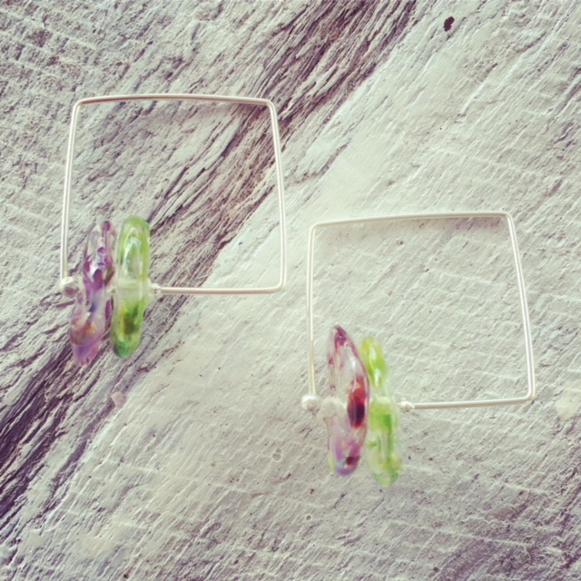 recycled glass earrings | Handmade recycled glass beads made from a Bethany Winery wine bottle.
