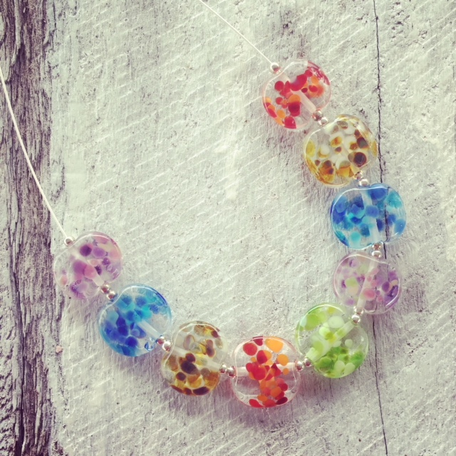 recycled glass bead necklace | handmade recycled glass beads made from a wine bottle