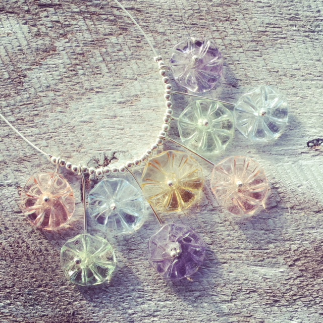 Glass Flower Necklace | handmade recycled glass beads from various coloured glass objects