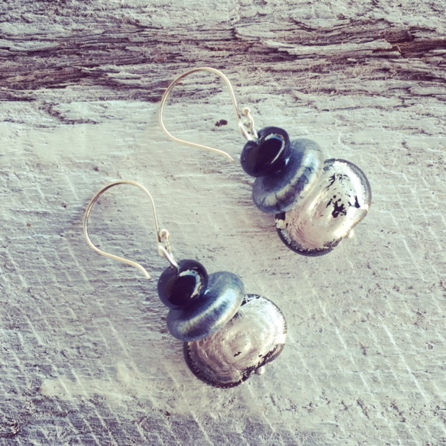 recycled glass earrings | beads made from a Hendricks Gin bottle