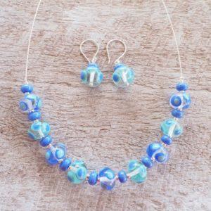 Blue handmade glass bead necklace