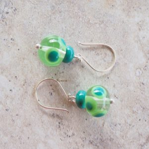 Handmade glass bead earrings - green