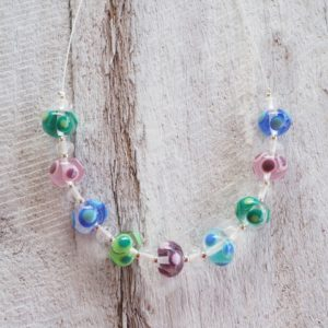 Handmade glass bead necklace | blues greens purples